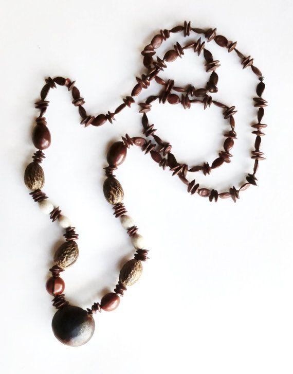 3386a2bfa7d8 Collar semillas naturales. Collar eco tribal. por HaveaFlowerDay ...