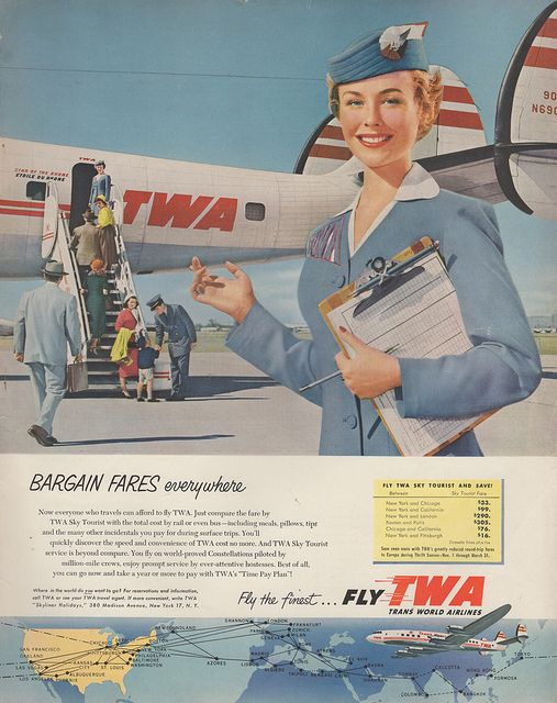 TWA, 1955. Wish we could still pay those fares.