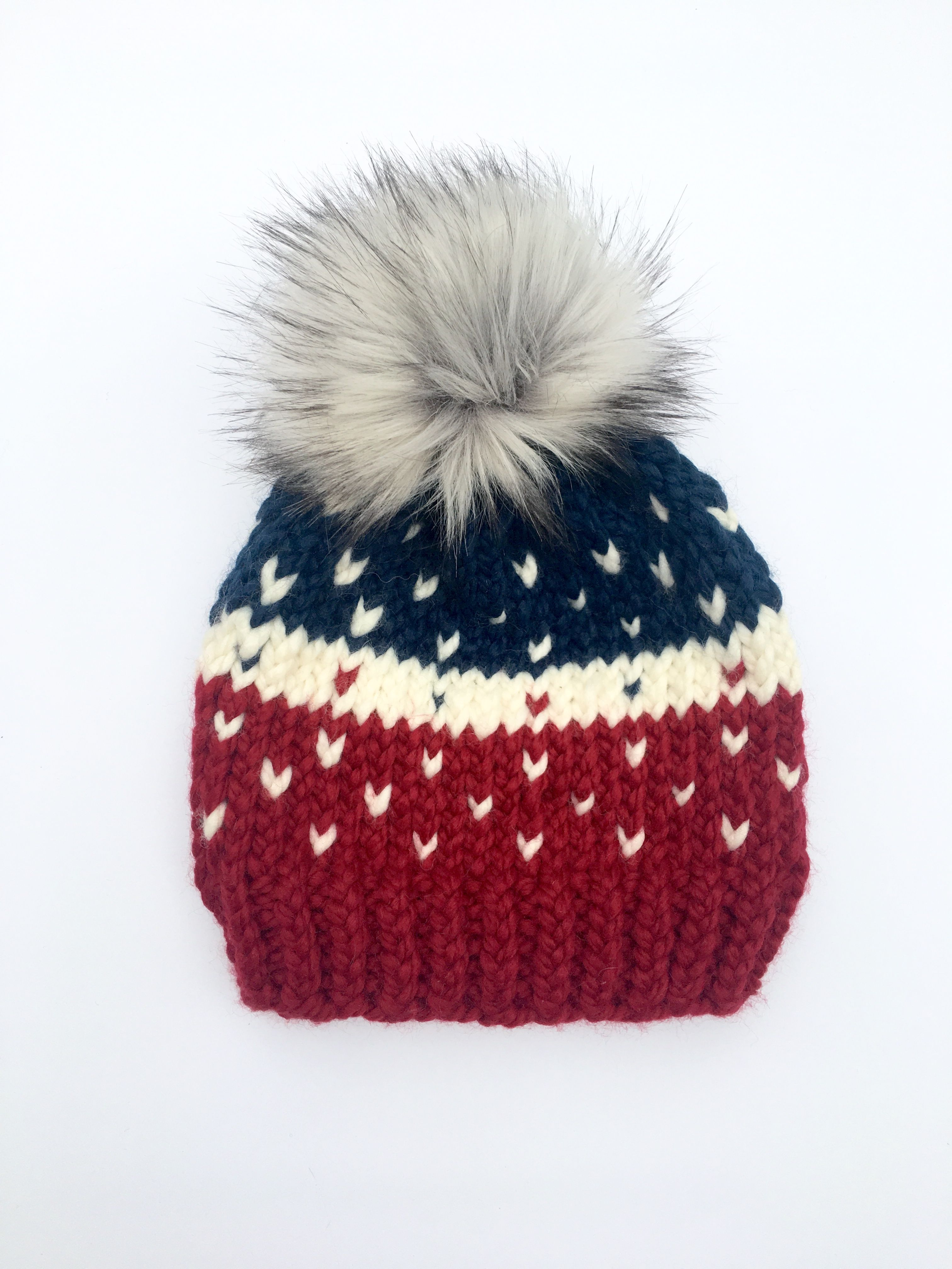 The Patriotic Winnie Beanie  Knit Beanie Womens Beanie  Pom Pom Hats  Winter Hats Christmas Gift