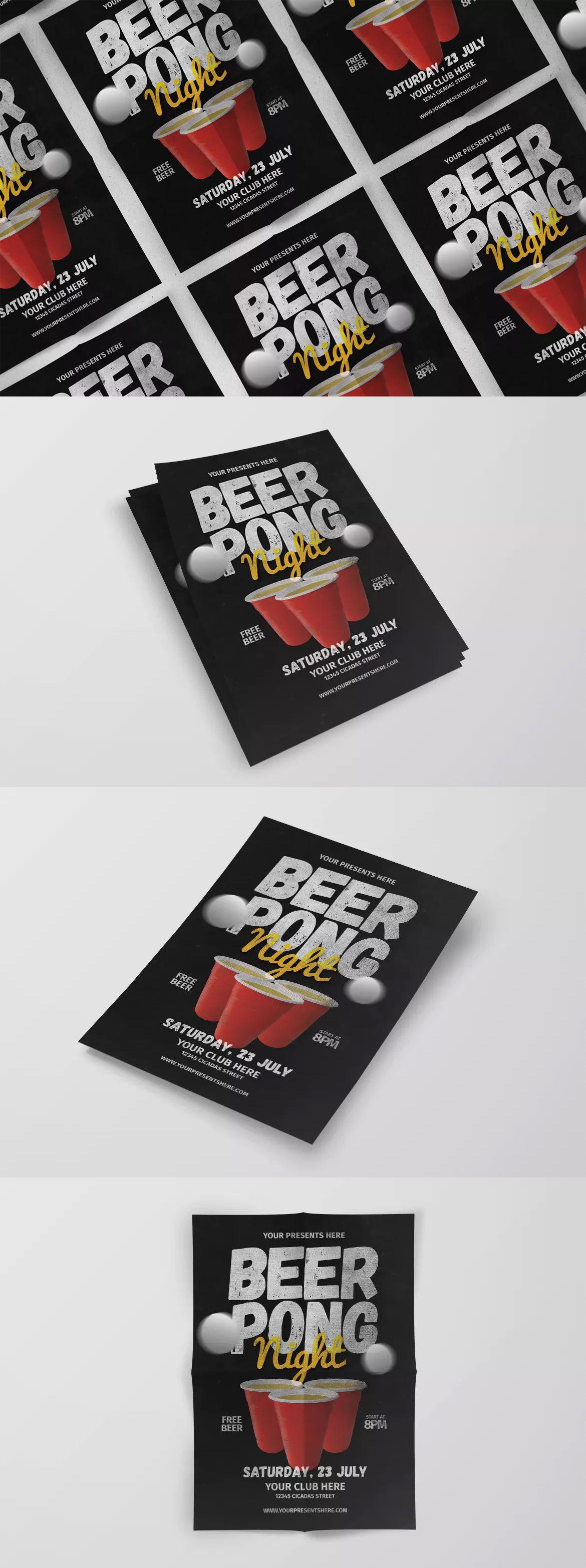 Beer Pong Flyer Template PSD Unlimiteddownloads