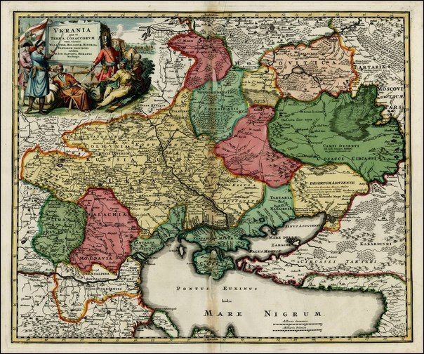 """Цей картографічний шедевр створений в 1712 році знаменитим німецьким картографом Іоганном Гоманом. Назва, в перекладі з латині, звучить так: """"Україна або козацька земля з прилеглими провінціями Валахії, Молдавії і Малої Татарії"""""""