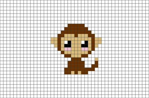 Monkey Pixel Art Pixel Art Pixel Pattern Mini Cross Stitch