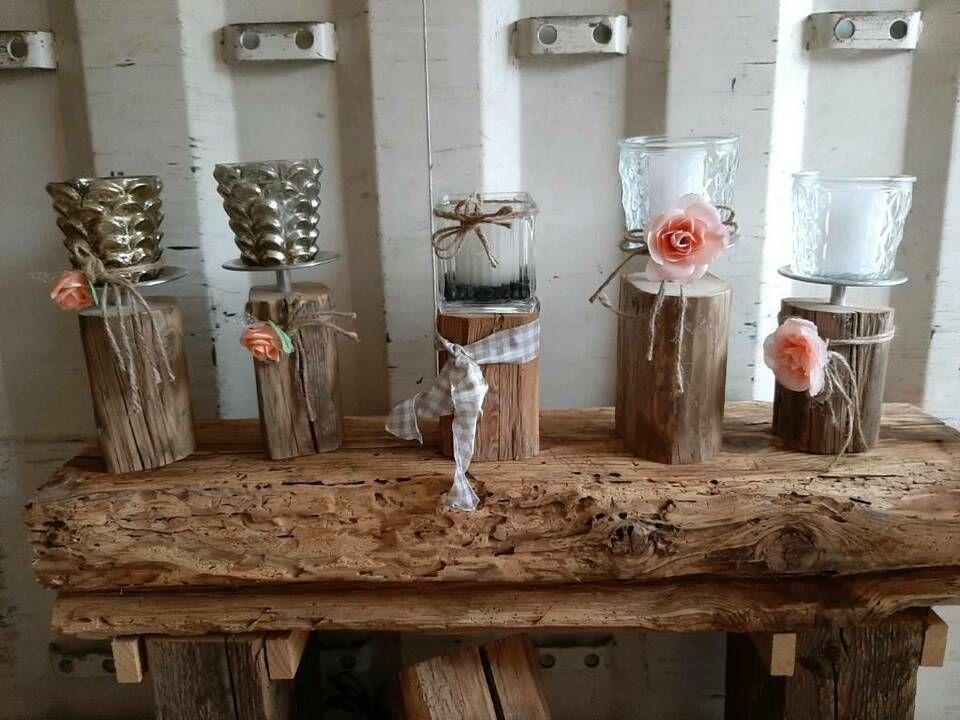 Windlicht Altholz Balken Deko Edelstahl Glas Kerzen Sonderpreis In