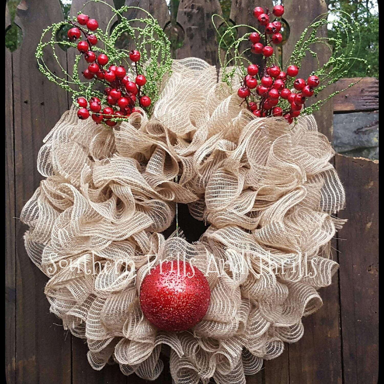 Rudolph Wreath, Reindeer Wreath, Deco Mesh Wreath