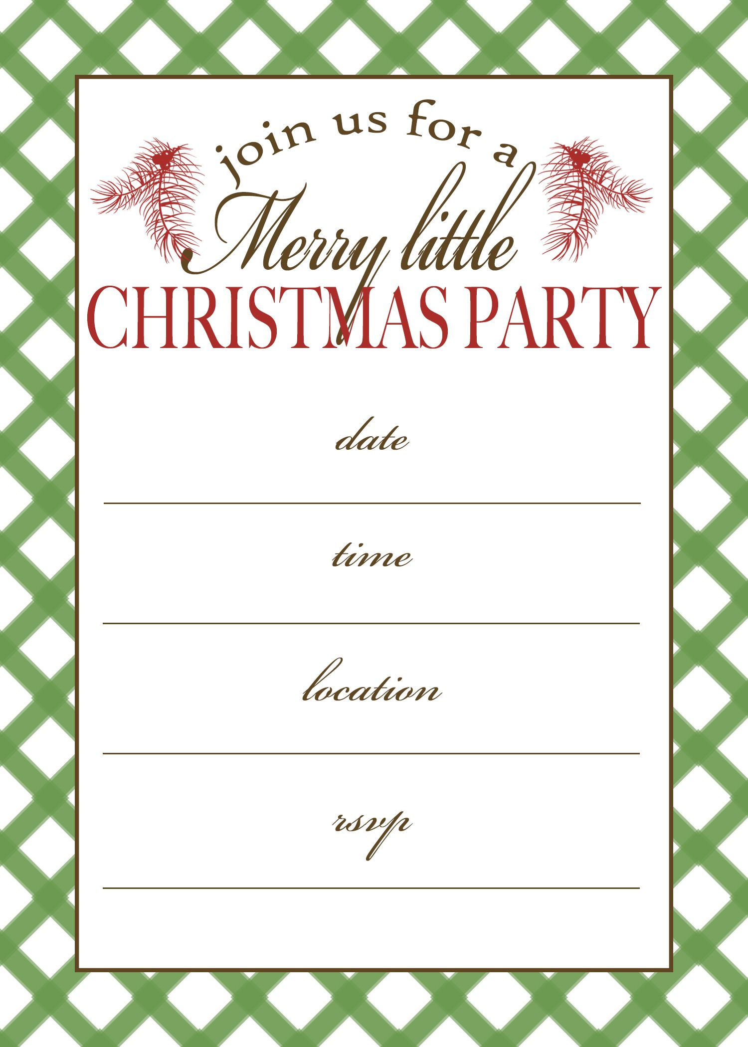 Free Printable Christmas Party Invitation Crafts Pinterest
