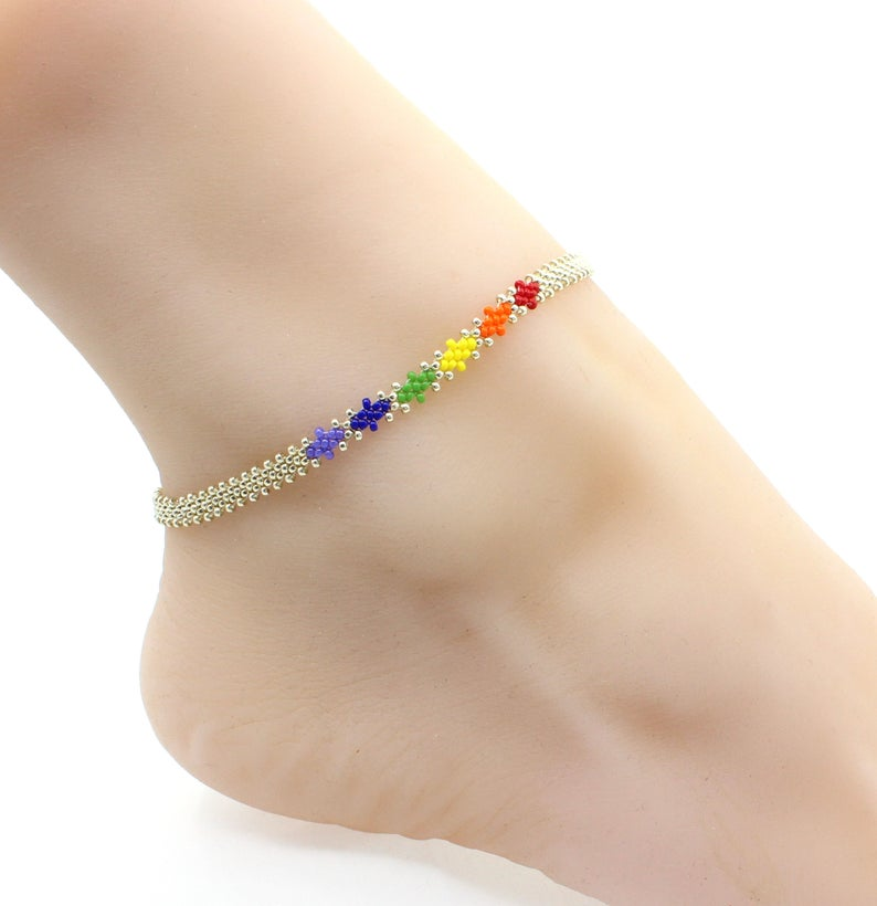 Stretchy Anklet Gift Anklet Daisy Chain Rainbow Anklet Rainbow Anklet Stack Dainty Seed Bead Anklet
