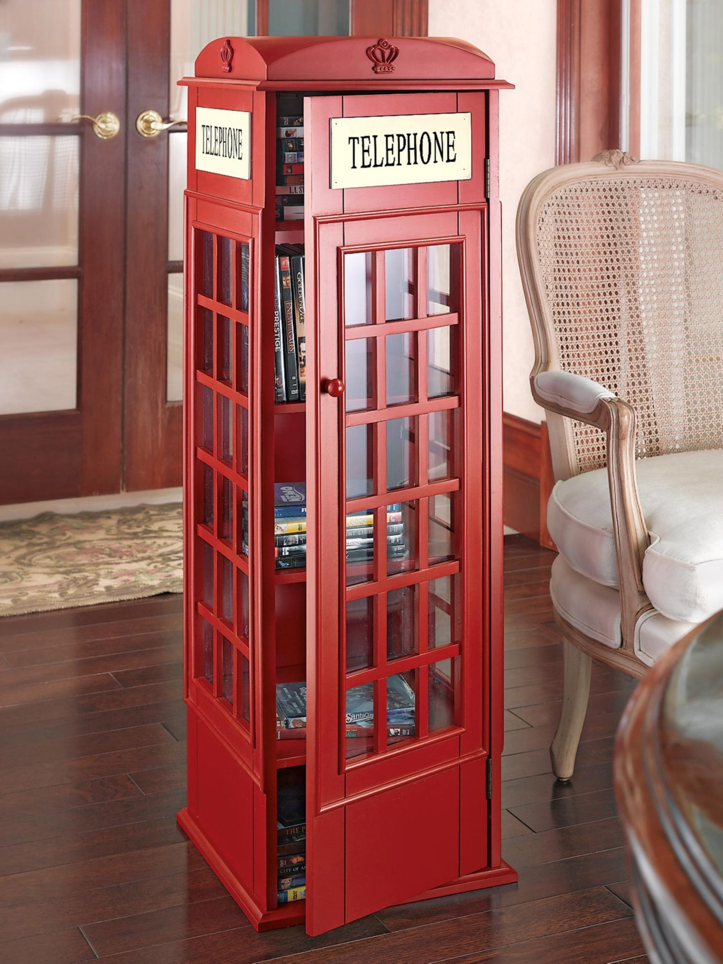 Muebles Cds Space Saving Phone Booth Tower Organizes 290 Cds Or 136 Dvds With