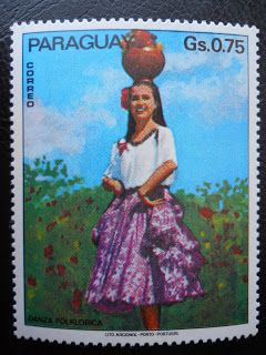 Stamps, covers and postcards of traditional/folk costumes: Stamps / Costumes - Paraguay / Paragvajus