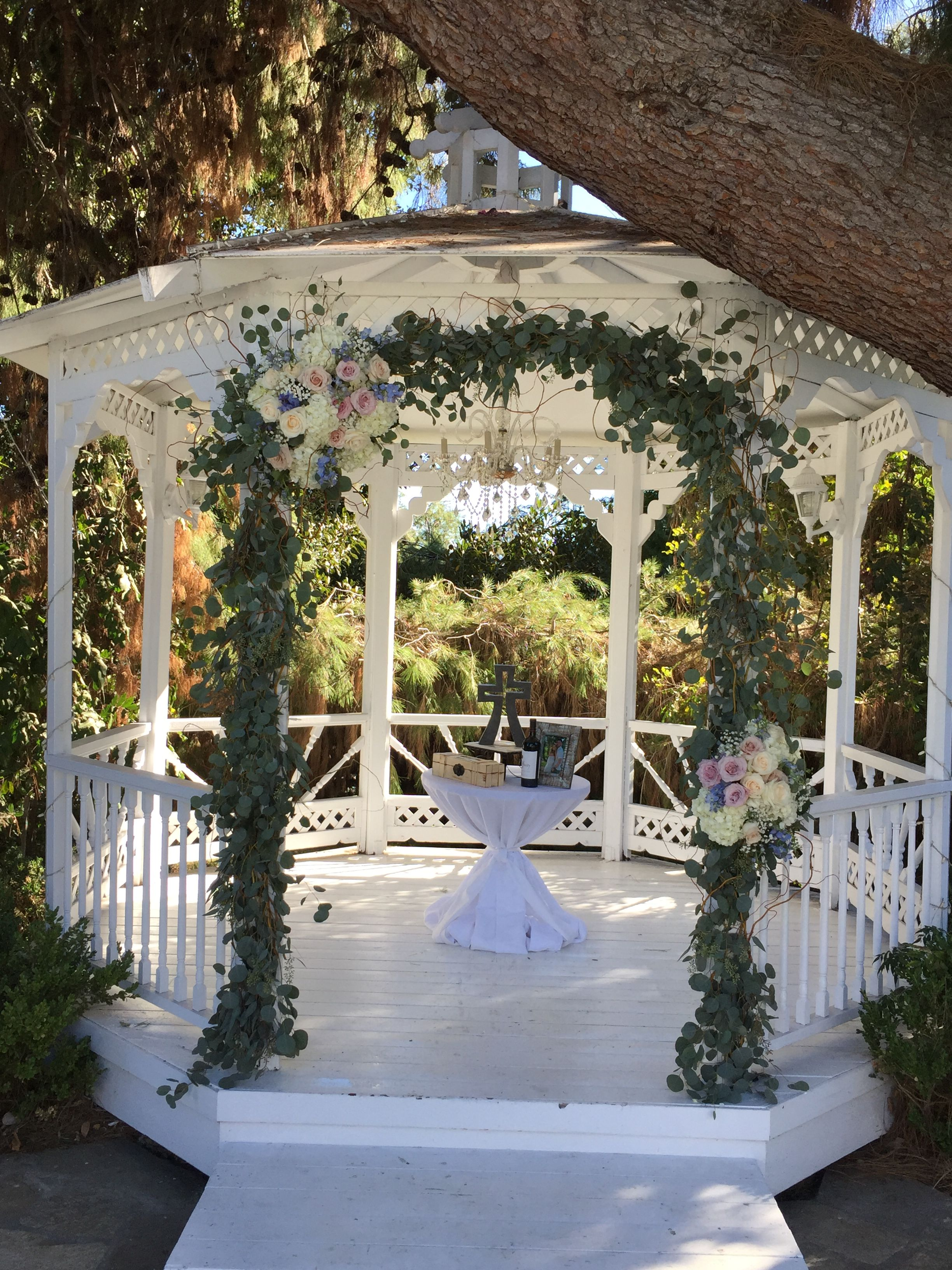 Ceremony Gazebo Eucalyptus Ivory And Blush Pink Roses Green