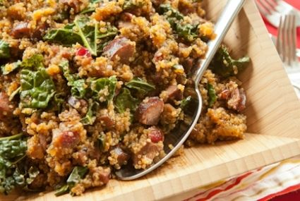 "Sausage and Quinoa One-Pot Supper // The ""good-for-you"" grain is cooked in cider with smoked sausage, dried cranberries and hearty greens : )"