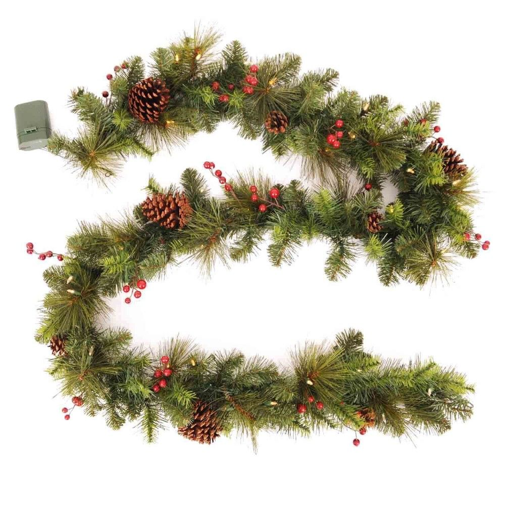 Philips 9ft Prelit Decorated Artificial Pine Christmas Garland Warm White Led Lights Green Red Christmas Decor Holiday Garlands Garland Decor