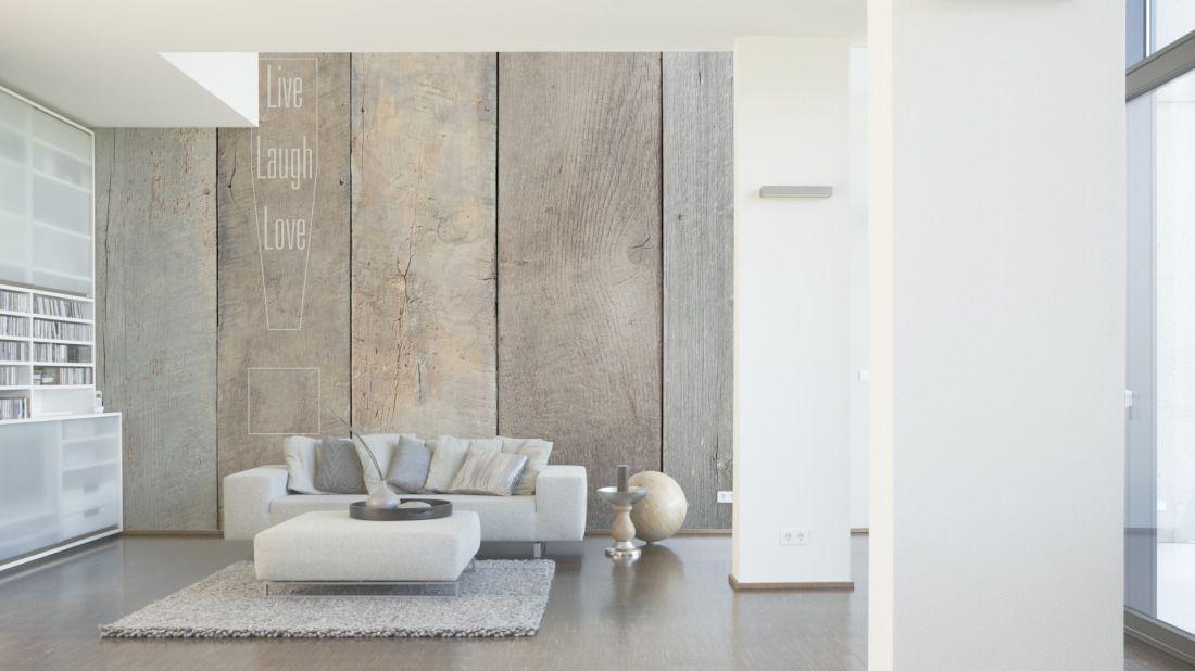 Tapeten im Wohnzimmer; Livingwalls Fototapete «Live laugh - wohnzimmer design tapeten