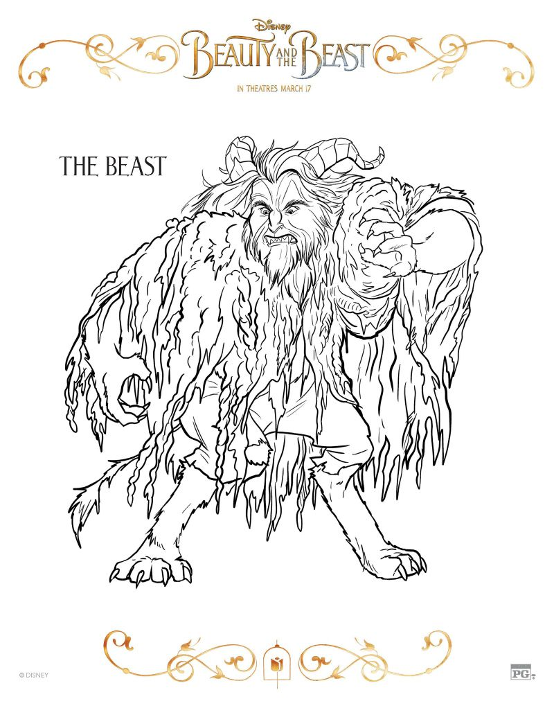 Beauty And The Beast Coloring Page The Beast Disney