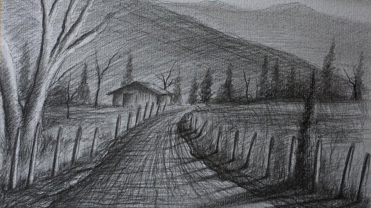 Como Dibujar Un Paisaje Rural A Lapiz Facil Paso A Paso Paisajes Dibujos Paisaje Rural Paisajes Naturales Dibujo