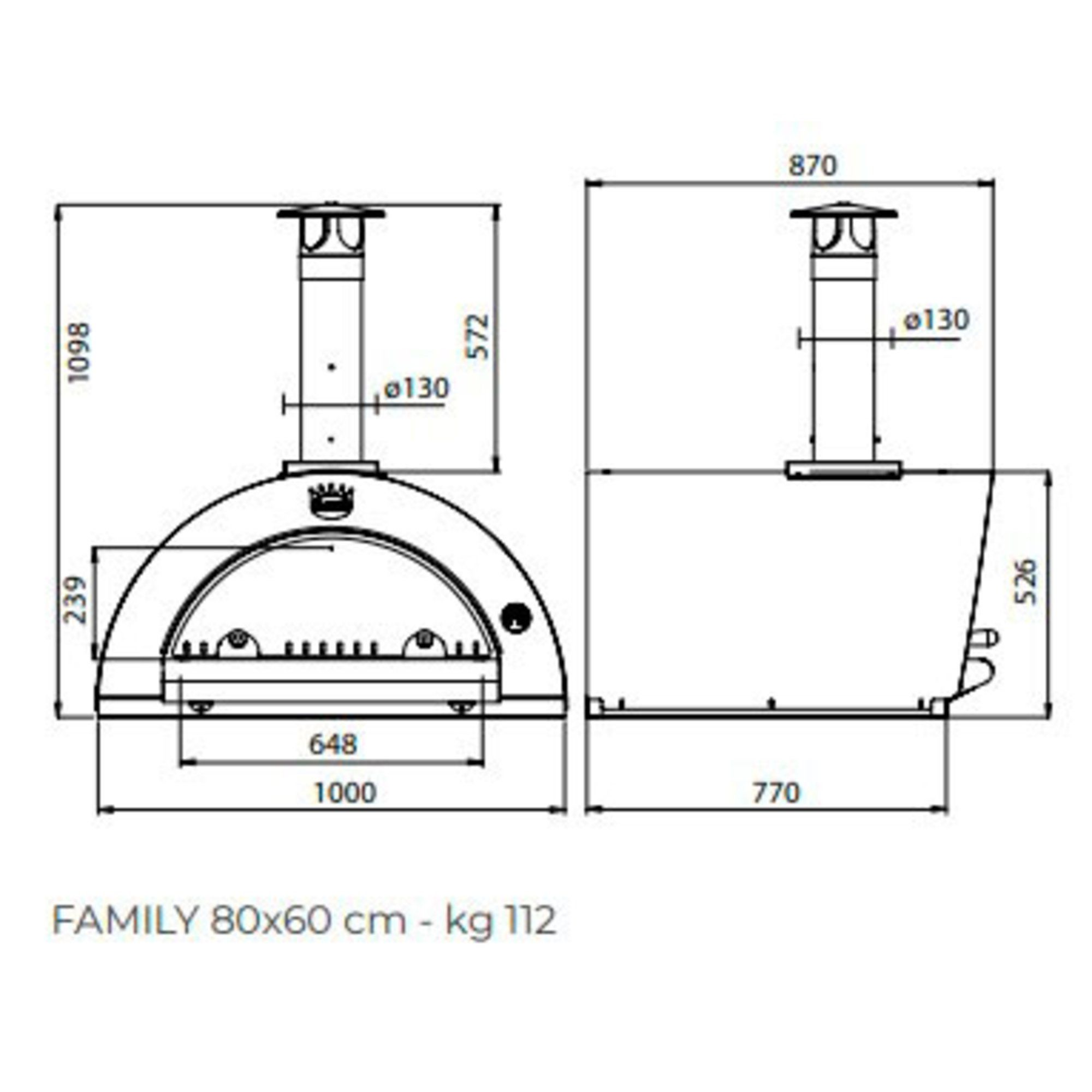 Clementi Family Wood-fired Pizza Oven 80×60 cm.  Copper