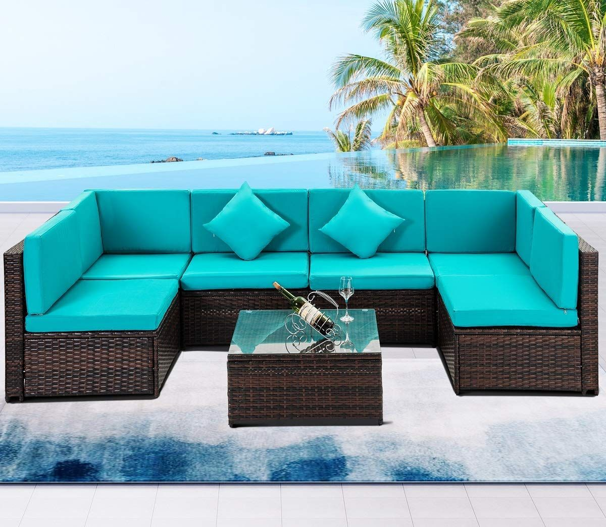 7 Pcs Outdoor Rattan Wicker Furniture Set Garden Patio Sectional Sofa With Cushioned Seat And Glass Coffe Garden Patio Furniture Patio Sectional Green Cushions