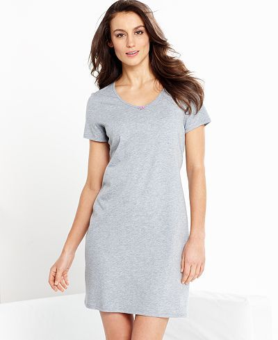 Nautica Short Sleeve V-Neck Sleepshirt - Bras, Panties & Shapewear - Women - Macy's Final Price: $20.99