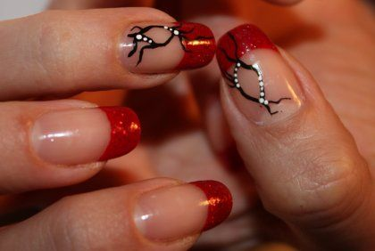 French nail manicure with red tips and black design - Red Nail Art Designs Of Your Opinion Or Suggestion About Our