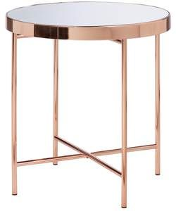 Collection Round Glass Top Side Table - Copper Plated.
