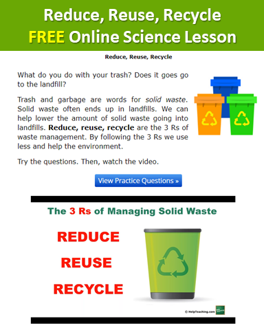 Free Reduce Reuse Recycle Online Science Vocabulary Lesson Get