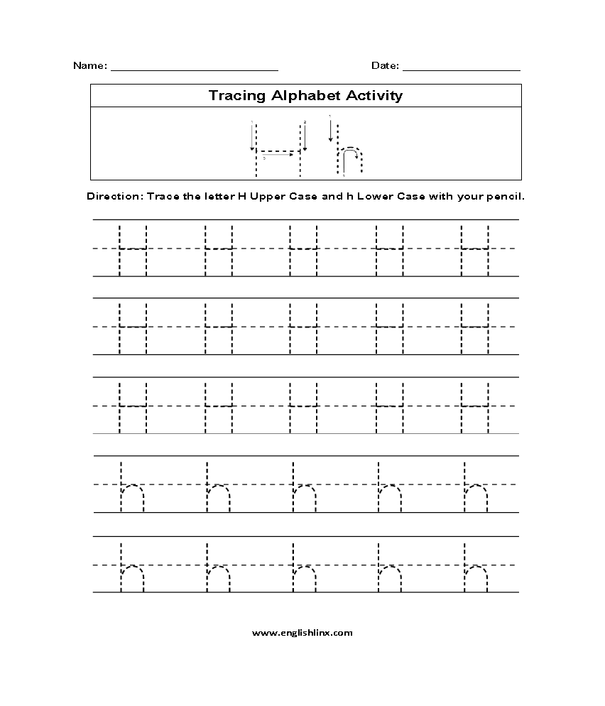 Letter H Tracing Alphabet Worksheets Tracing Worksheets Alphabet Worksheets Alphabet [ 994 x 852 Pixel ]
