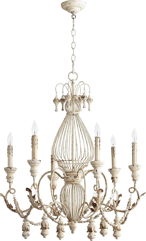 Quorum Lighting 6306 6 70 Salento 1 Tier Chandelier Lighting 6lt 120 Watts Persian White Chandelier Ceiling Lights Chandelier Lighting Cage Chandelier