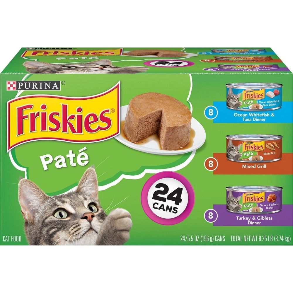 Purina Friskies Pate Wet Cat Food Whitefish Mixed Grill Turkey 5 5oz 24ct Variety Pack In 2020 Purina Friskies Cat Food Reviews Wet Cat Food