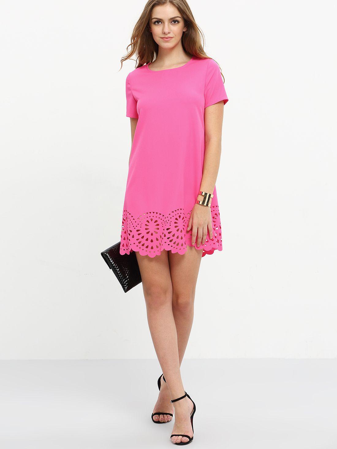 Vestido suelto hueco con manga corta -rosa caliente | LOOK ...