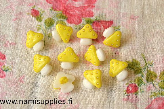 30 Pcs Yellow Mushroom Buttons - Mushroom Shank Button - 15mm Buttons