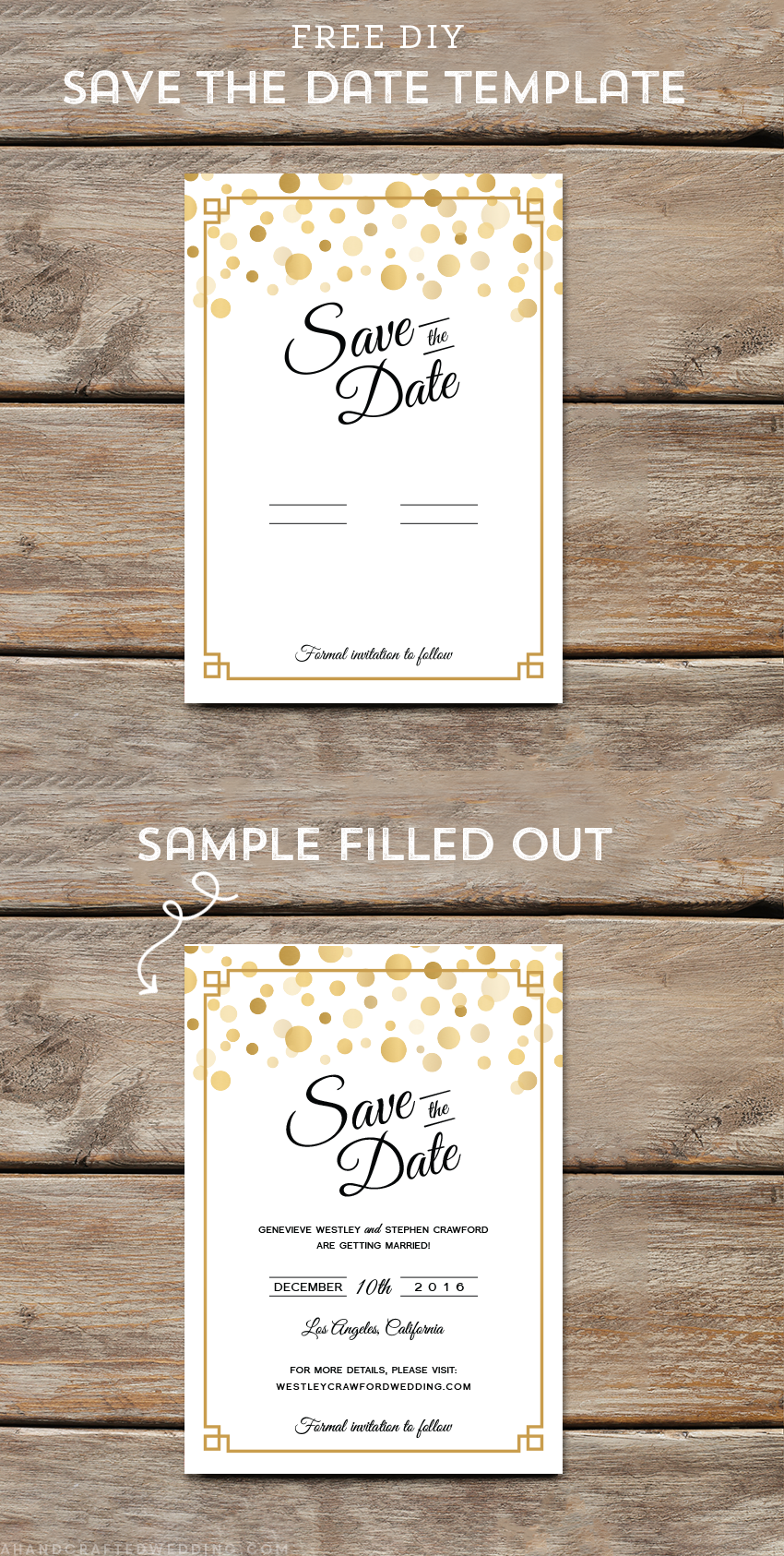 Modern DIY Save the Date FREE Printable Gold diy Wedding and Weddings