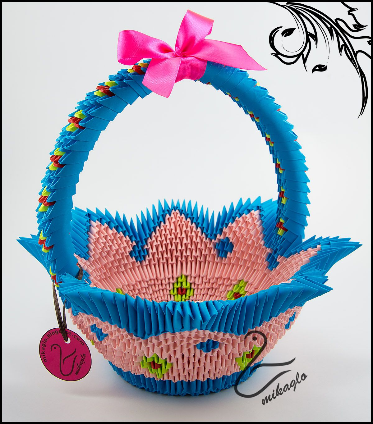 Blue-pink origami 3d basket tutorial -> mikaglo.blogspot ... - photo#38