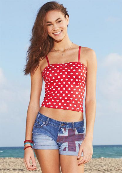 bf93bd22cab323 Polka Dot Ruched Tank - Tops - Just In - dELiA s