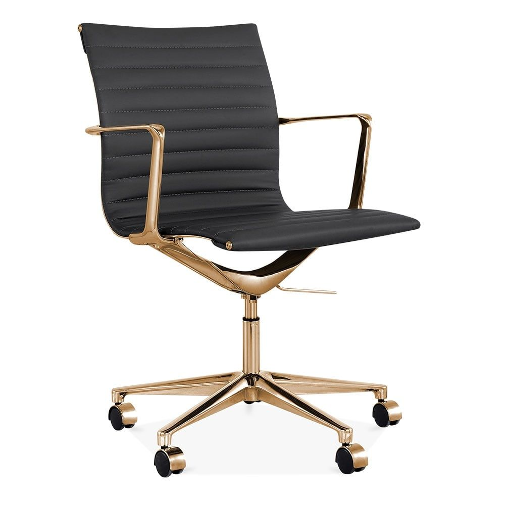 Cult Living Ribbed Office Chair With Short Back   Black / Gold