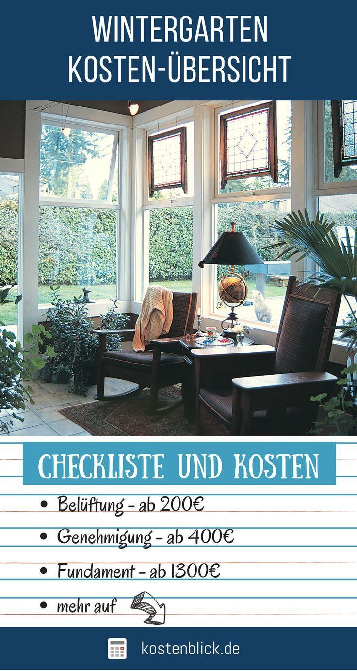 Wintergarten Kosten & Aufwand im Überblick
