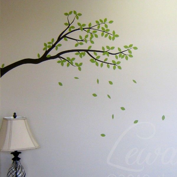 Tree Branch Wall Decal Sticker With Leaves   Leaf And Tree Branch Vinyl Wall  Art