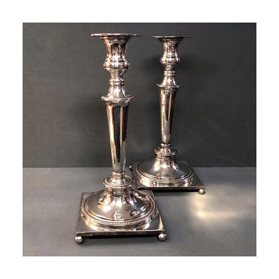 Tall Silver Plated Candlesticks Antique Candlesticks Silver Plate Candle Holders Vintage Candlesticks c.1880s  sc 1 st  Pinterest & Tall Silver Plated Candlesticks Antique Candlesticks Silver Plate ...