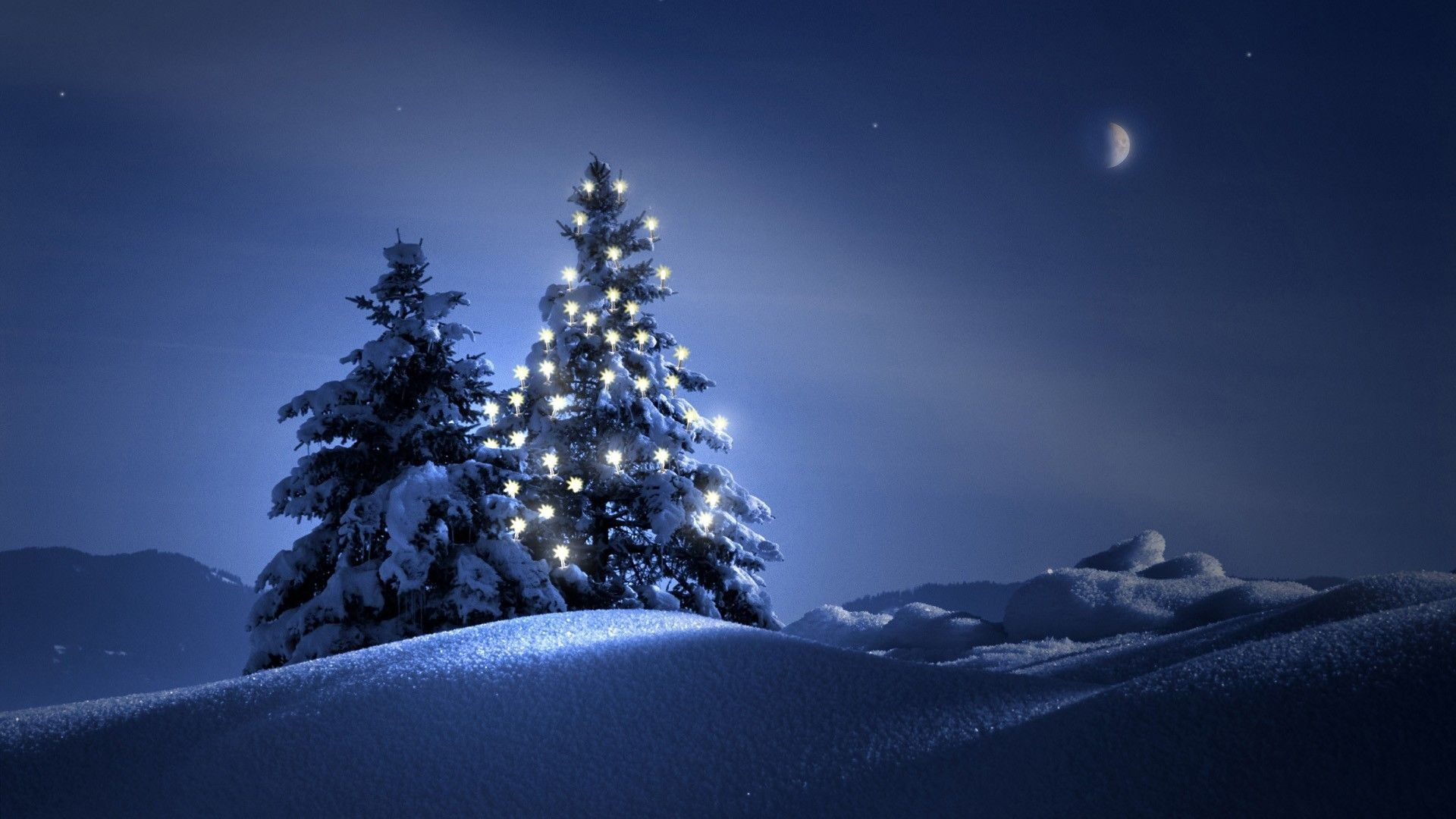 General 1920x1080 Christmas Christmas Tree snow night