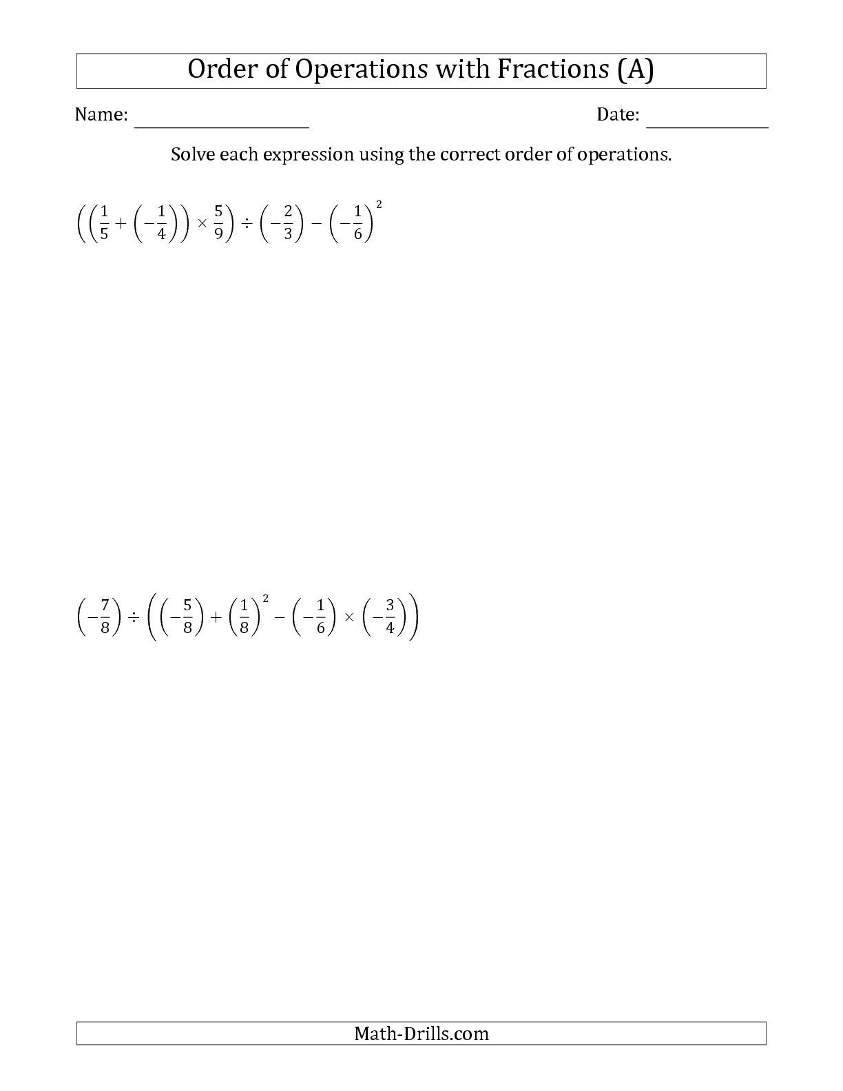 Revised The Order Of Operations With Negative And Positive Fractions Five Steps A Math