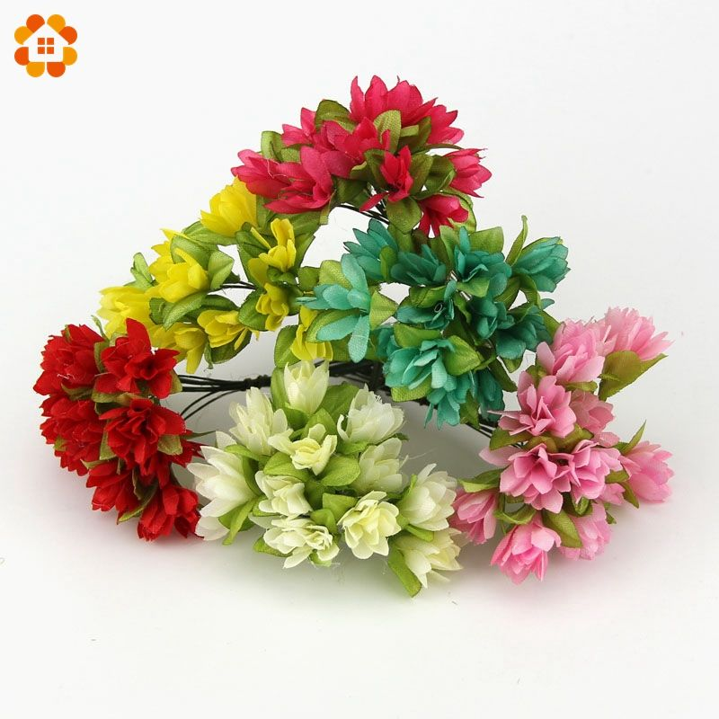 12pcslot Can Wholesale Diy Silk Artificial Flowers Bouquet For Home