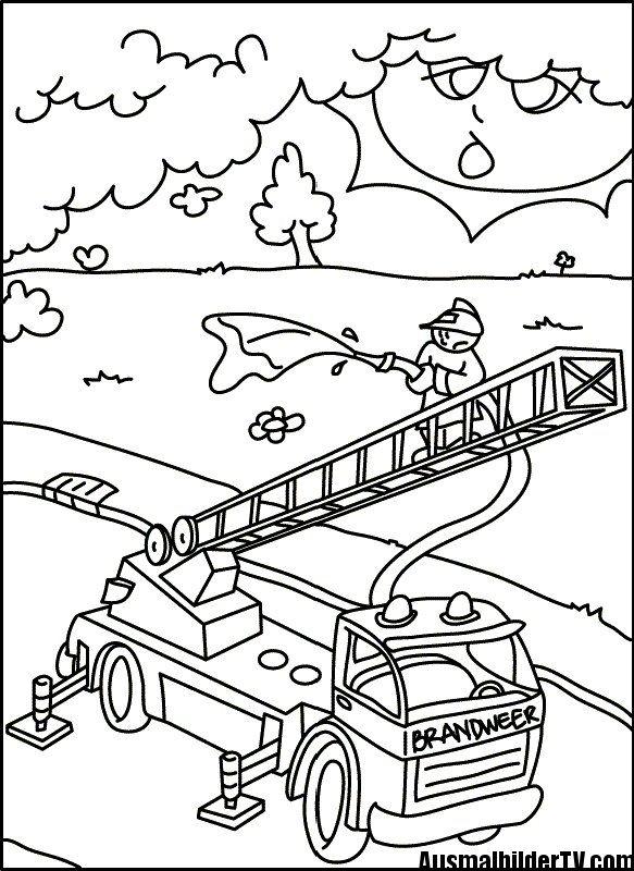 ausmalen feuerwehr | ausmalbilder | Pinterest | Feuerwehr, Ausmalen ...