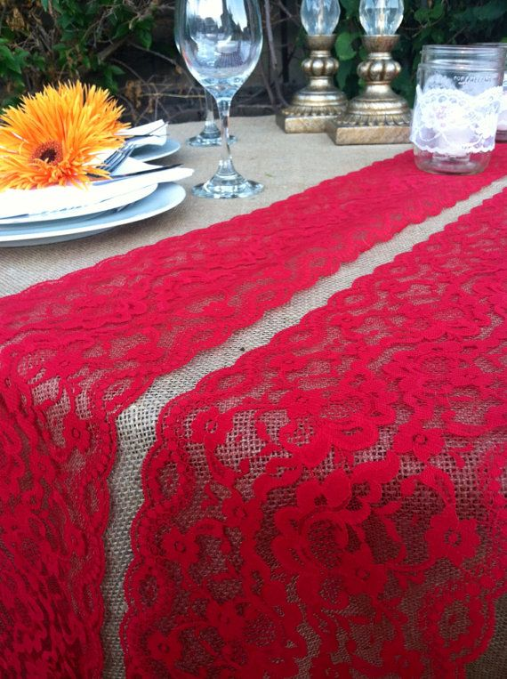 DARK RED VINTAGE Lace/Table Runner/Weddings/2 By LovelyLaceDesigns Red Lace,
