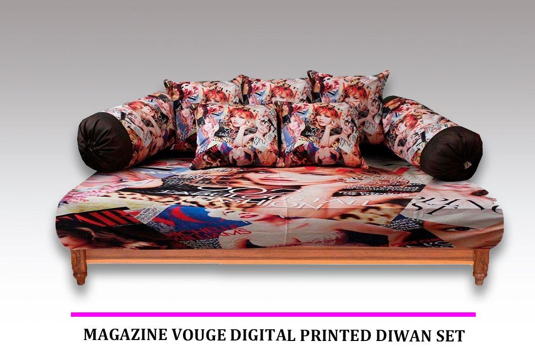 Miraculous Magazine Vouge Digital Printed Diwan Set Set Of 8 Pcs Cjindustries Chair Design For Home Cjindustriesco