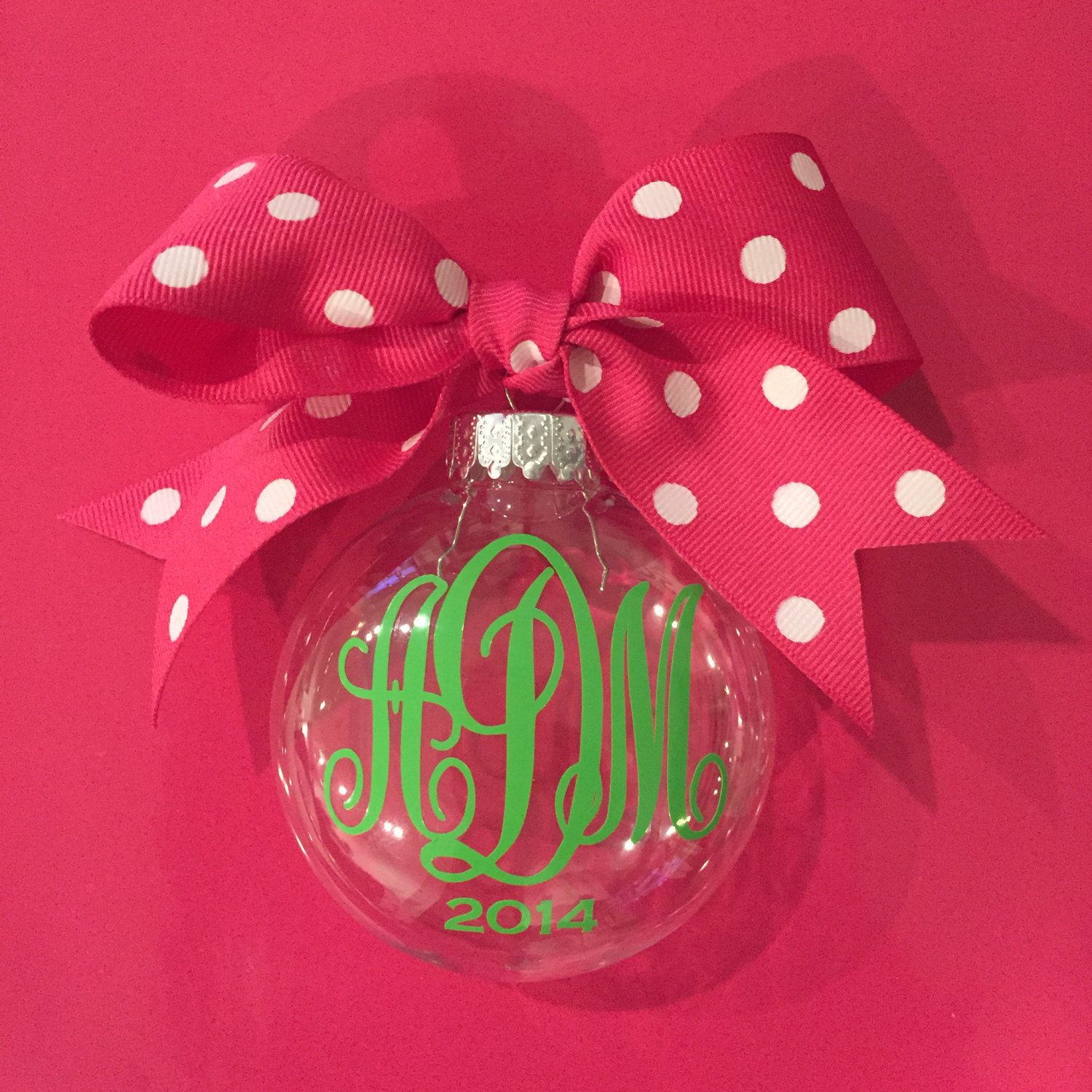 Make your holiday sparkle with this custom monogrammed ornament! Great for gift, a new couple, or even a new baby! We can also do ornaments that display a saying of your liking such as Merry Christmas, Christmas 2015, etc. Just message us and we can create something special for you!  ***In the NOTES TO SELLER:  **Indicate monogram: -Girl monogram initials: First, LAST, Middle  -Boy monogram initials: First, Middle, Last-Please indicate if boy so the letters are all the same size  -Couple…
