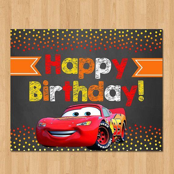 Disney Cars Happy Birthday Sign Chalkboard Orange Red Lightning