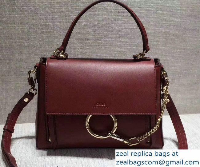 3dbcec3f8 Chloe Smooth And Suede Calfskin Small Faye Day Double Carry Bag Burgundy  2017