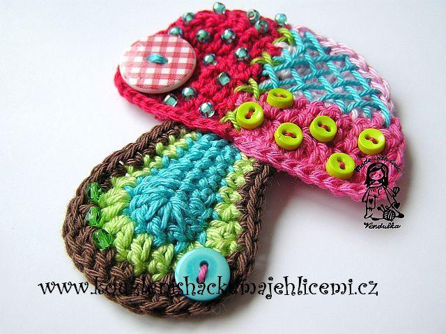 Crochet Appliques örnekler Pinterest Pilze Applikationen
