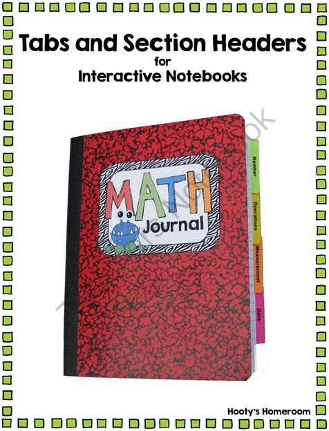 Classroom Design Journal Articles ~ Tabs and section headers for organizing interactive