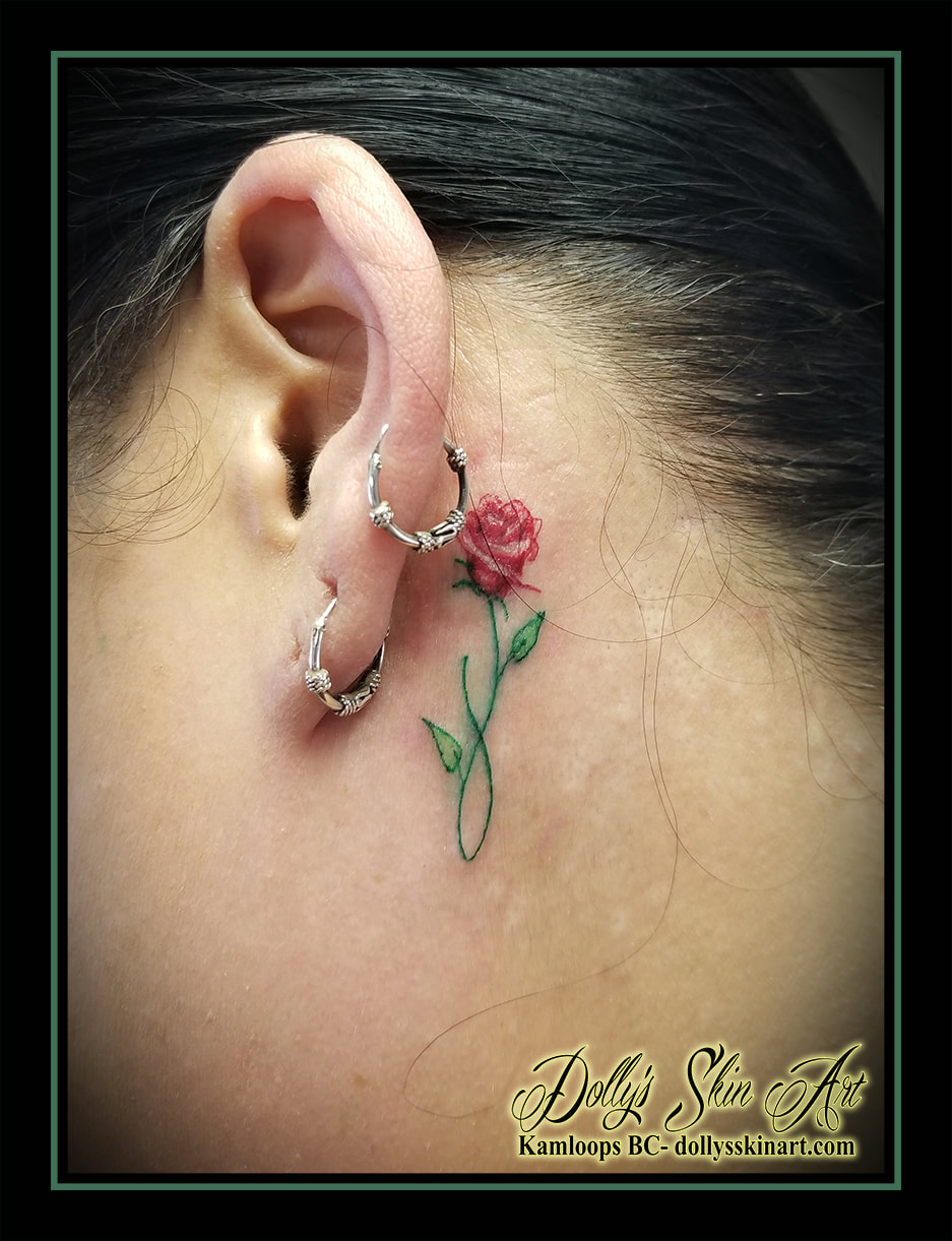 A Little Red Rose Behind The Ear For Kim Red Tattoos Red Rose Tattoo Ear