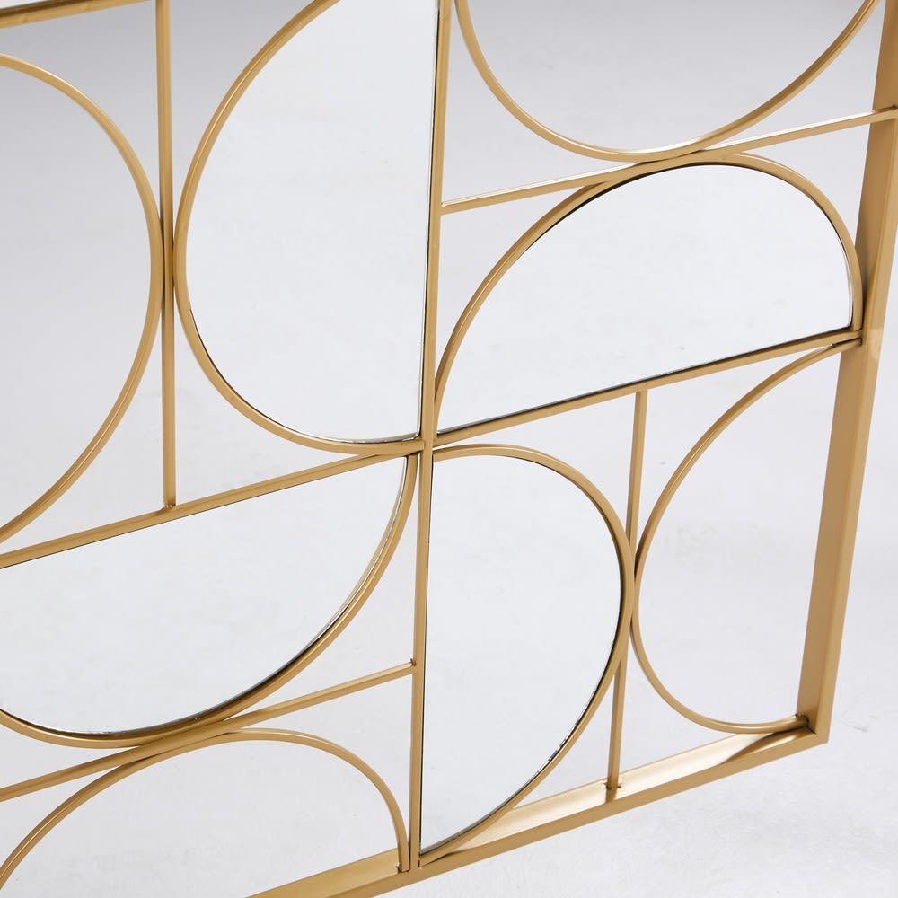 deco murale miroir en metal dore 90x120