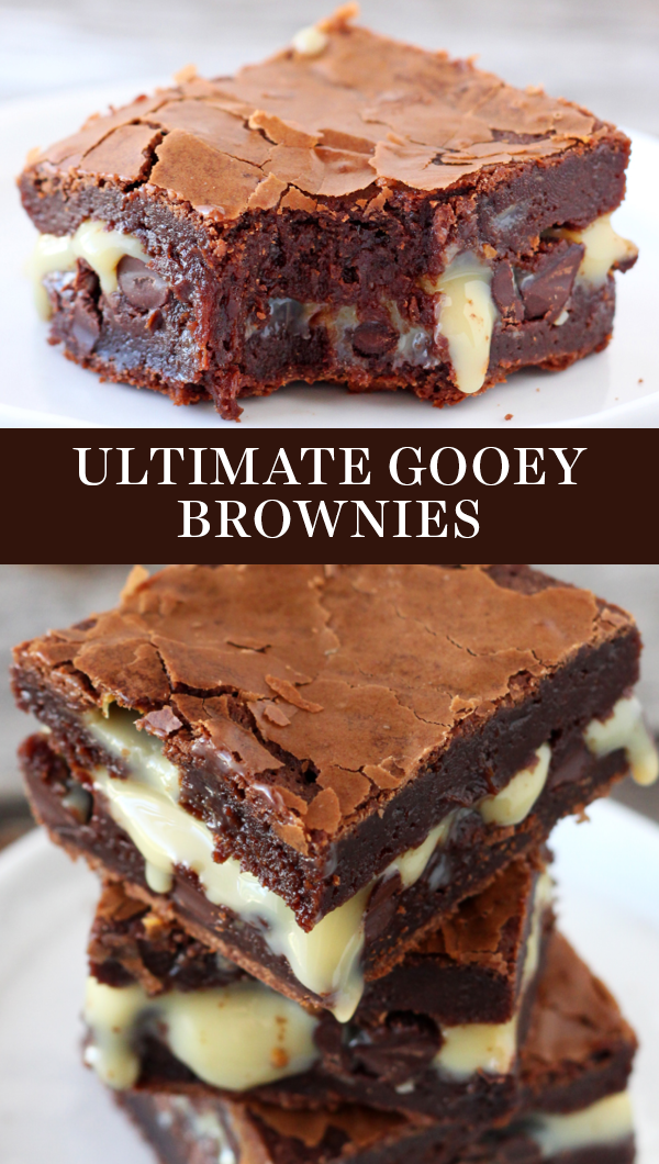 Ultimate Gooey Brownies Are Ridiculously Tall Chocolaty Ooey And Gooey In 2020 Condensed Milk Recipes Desserts Milk Recipes Dessert Sweetened Condensed Milk Recipes